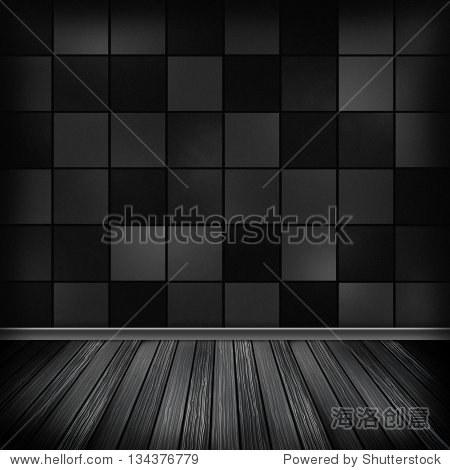 黑色的空房间,室内墙纸.高分辨率纹理背景.