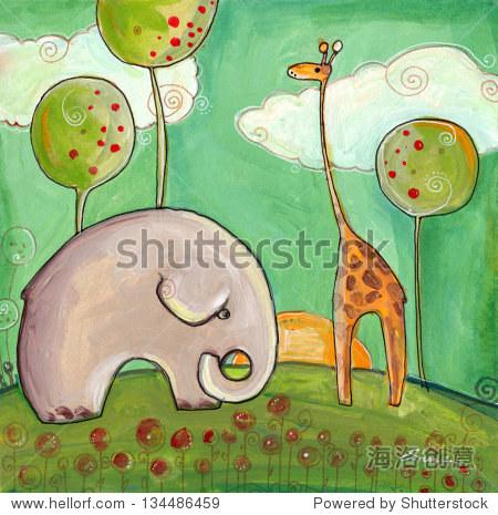 大象和长颈鹿在日落坐在花园里 - 动物/野生生物,教育
