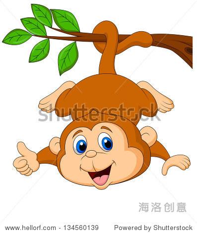 可爱的猴子卡通挂伸出大拇指
