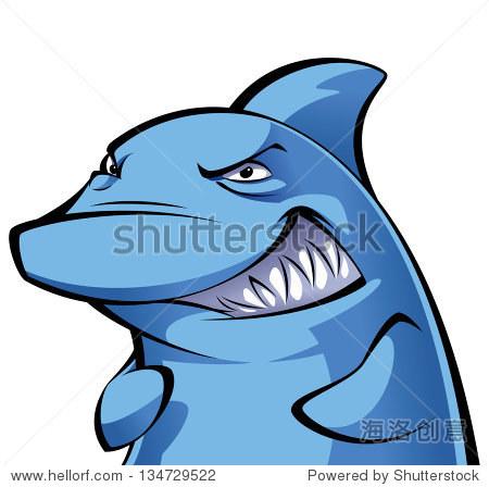 狡猾的卡通蓝色鲨鱼微笑展示它的大牙齿