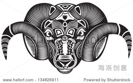 矢量图的动物图腾纹身- ram