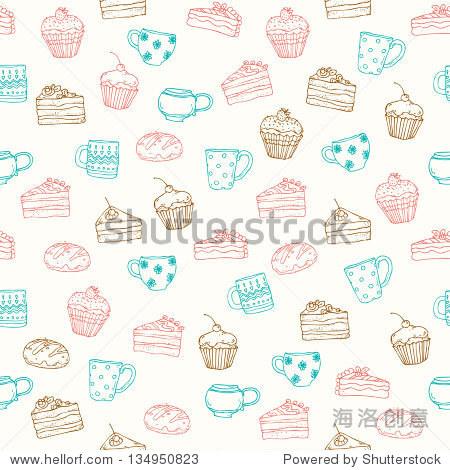 无缝装饰手绘模式与蛋糕,松饼和茶杯.