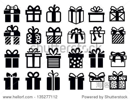 向量黑色礼物图标设置在白色
