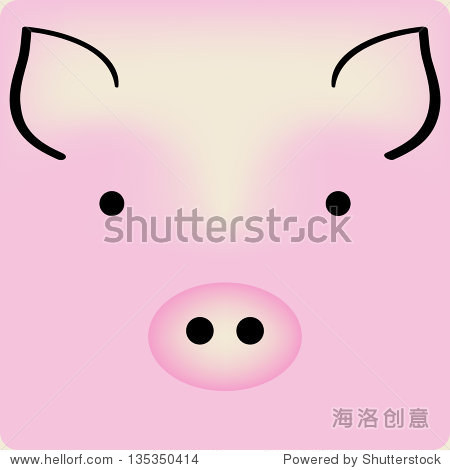 可爱的粉色卡通小猪的脸,向量背景卡