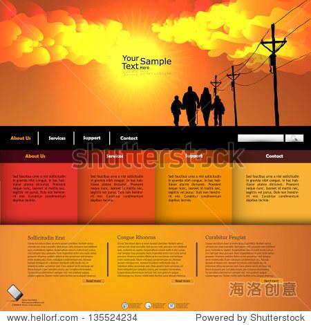 橙色的日落主题网站创意模板-背景/素材,商业/金融