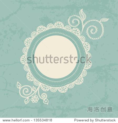 手绘花边框架.可用于装饰的照片,剪贴簿,web项目,邀请