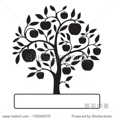 孤立在白色背景黑色苹果树和一个文本框.矢量插图.