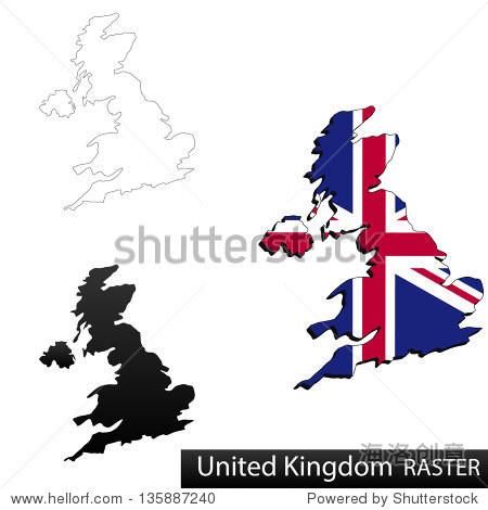 英国的地图,三维标志剪内部边界,和影子,和黑白轮廓的