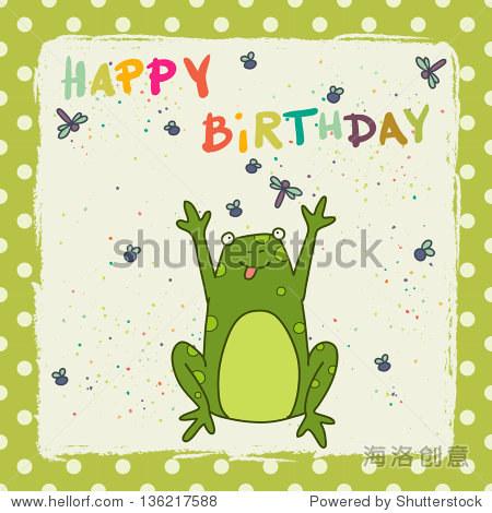 生日贺卡与快乐的卡通青蛙圆点花纹背景.矢量插图.