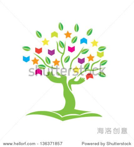 树双手书恒星和树叶图标矢量