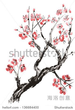 实的樱花开花 日本樱桃树孤立在白色背景 向量化的水彩画 艺术,自图片