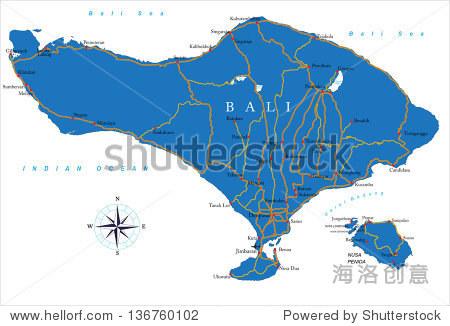 巴厘岛的地图