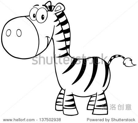 概述了斑马卡通吉祥物的性格-动物/野生生物,自然-,,.