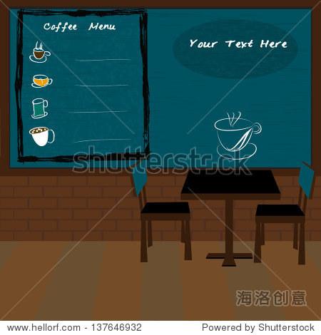 Coffee shop and menu bar drawn on chalkboard,vector eps10