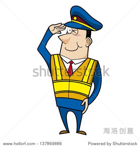 卡通警察安全背心的人敬礼.