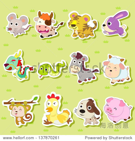 12生肖动物贴纸,卡通插图
