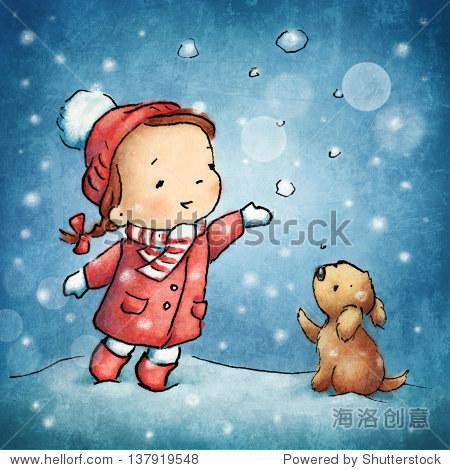 可爱的小女孩,小狗在雪下.