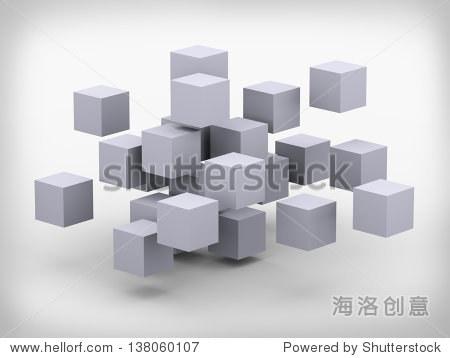 三维立方体建筑设计说明的抽象结构
