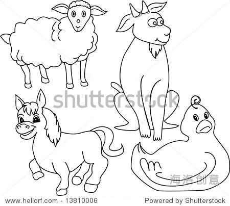 农场动物的剪影