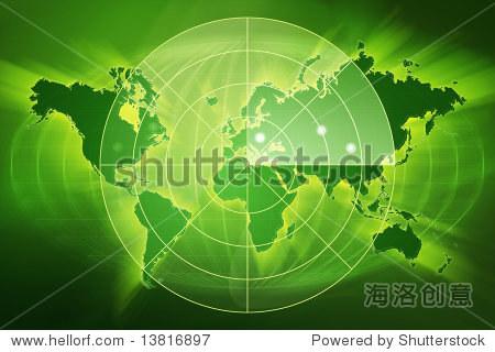 绿色世界地图的雷达屏幕上