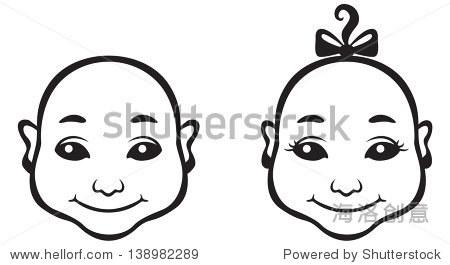 黑色和白色轮廓卡通娃娃脸的形象