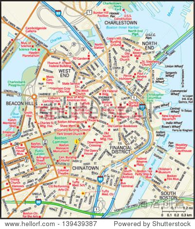 马萨诸塞州波士顿市区地图
