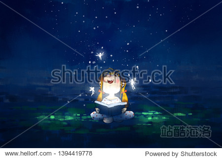 digital painting of kid reading the magic book  acrylic on canvas texture  story telling illustration