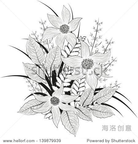 装饰花,黑白画.光栅的矢量插图