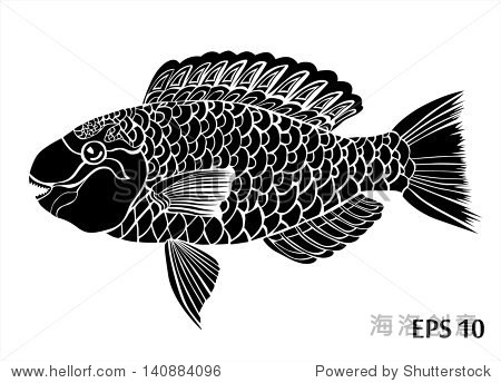 黑色和白色鱼剪影-动物/野生生物,抽象-海洛创意正版