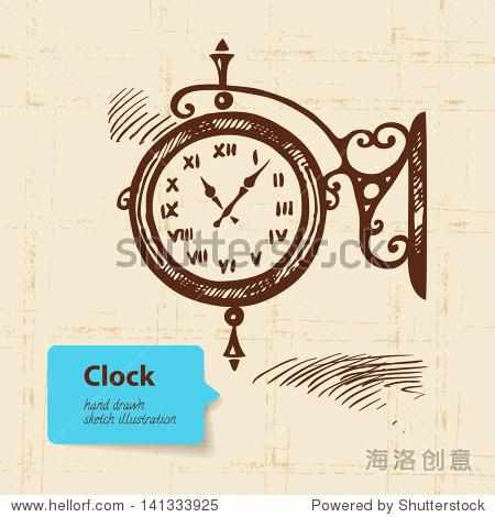 古董街时钟.手绘插图