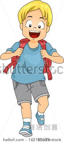 说明小孩男孩学生背着一个背包