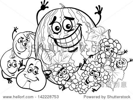 黑白卡通矢量插图有趣的水果食物对儿童彩色书字符组