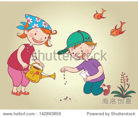 两个小孩子的孩子种花种子.孩子们夏天活动的想法.
