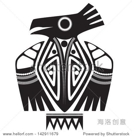 矢量插图图腾部落的动物——鹰——纹身的颜色