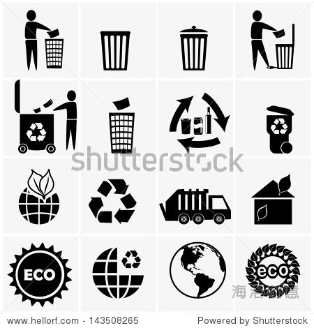 矢量图标组用于废物处理的可回收材料