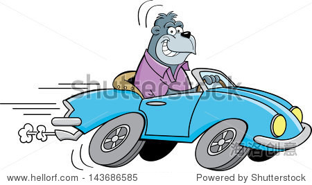 大猩猩开车的卡通插图. - 交通运输,动物/野生生物