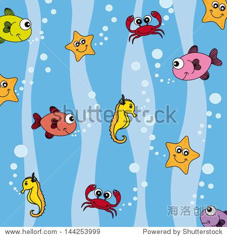 鱼,海星,螃蟹和海马 - 动物/野生生物,背景/素材