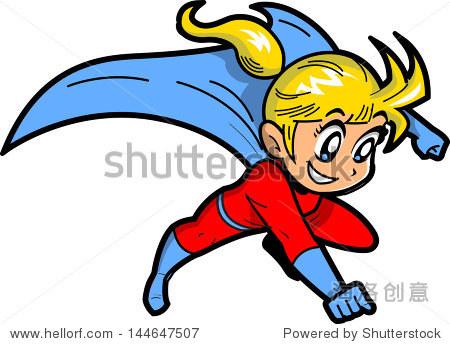 动画漫画的金发小女孩飞超人斗篷