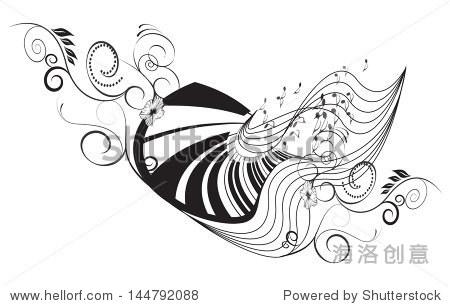 音乐,钢琴与关键笔记和花卉元素