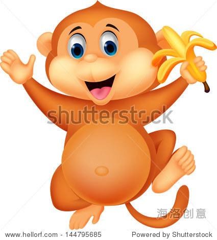 可爱的卡通猴子吃香蕉