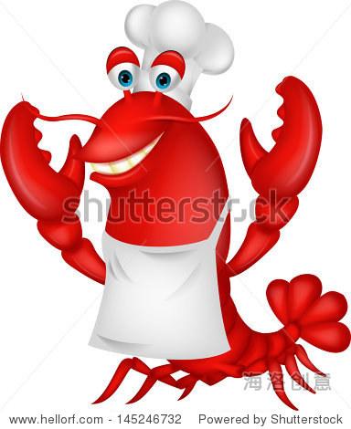可爱的龙虾厨师卡通