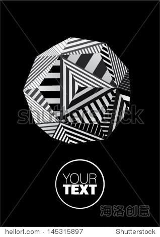 多面体海报设计的黑白条纹的脸
