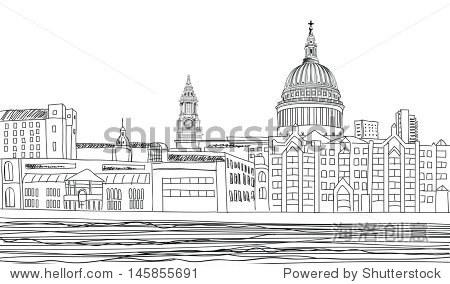 英国伦敦泰晤士河,英格兰.手绘铅笔矢量