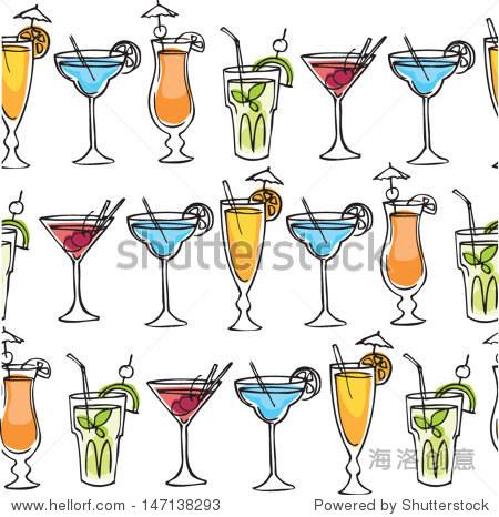 鸡尾酒饮料矢量图模式