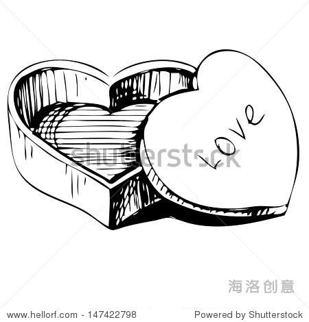 心形的盒子图标孤立在白色的