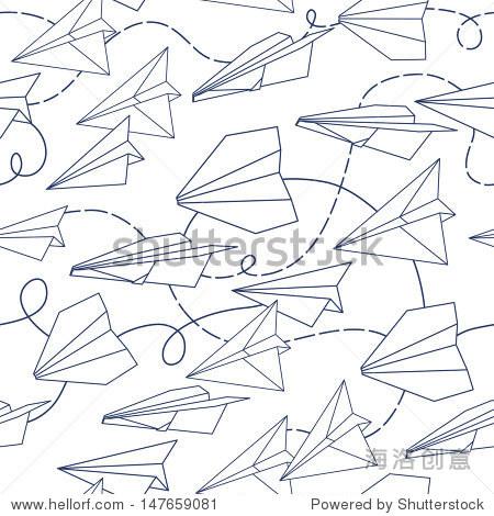 纸飞机无缝纹理