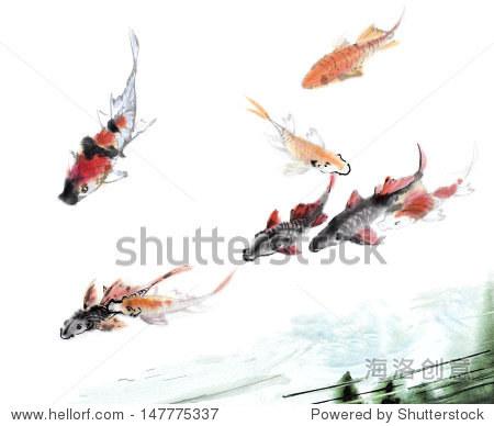 原始艺术,水彩画的锦鲤游泳