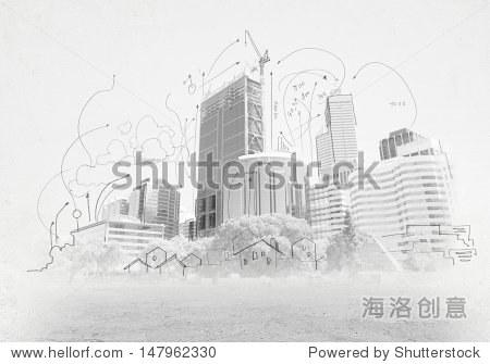 手绘的城市场景.建筑的概念