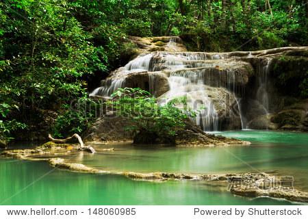 深森林瀑布erawan瀑布国家公园,北,泰国 - 背景/素材