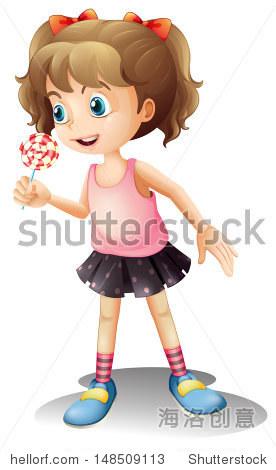 说明一个可爱的小女孩拿着棒棒糖在白色的背景